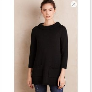 Anthropologie Field Flower black sweater dress
